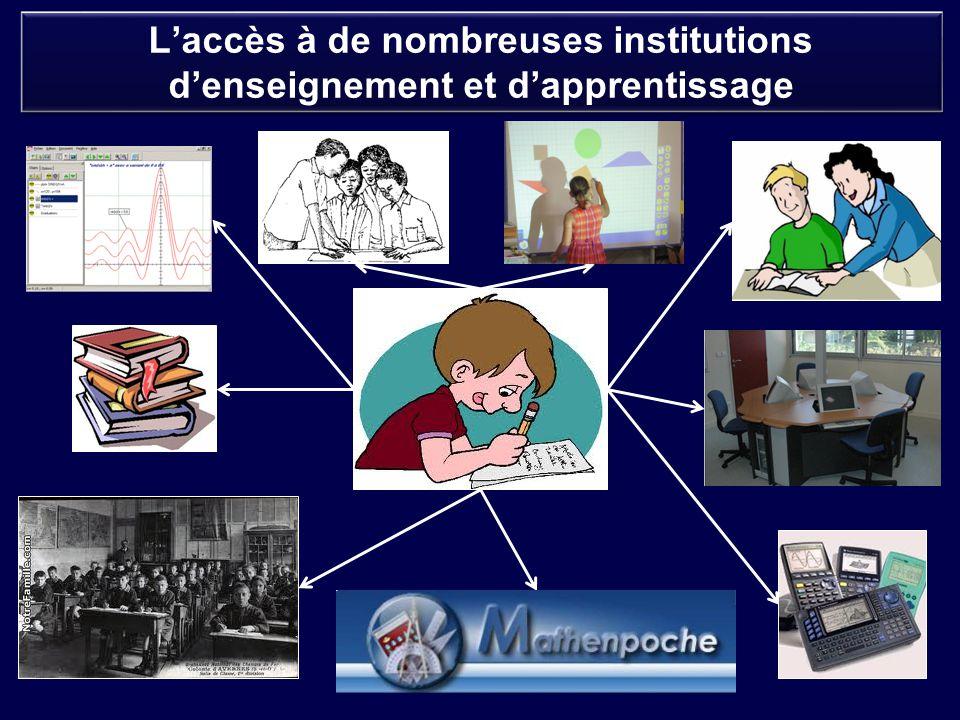 L'accès à de nombreuses institutions d'enseignement et d'apprentissage