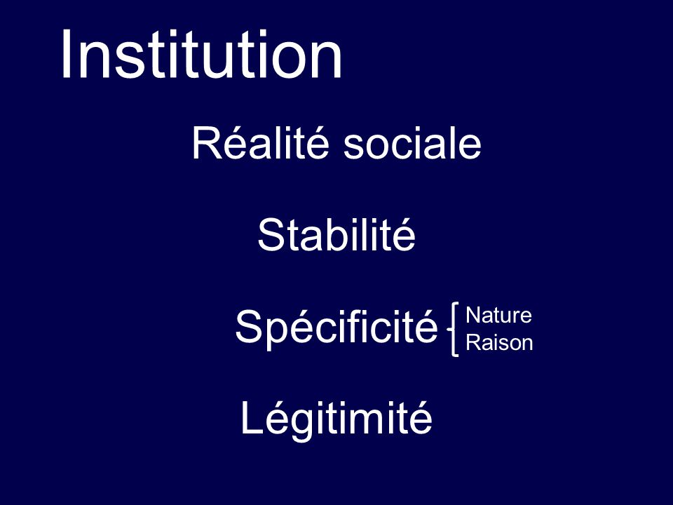 Réalité sociale Stabilité Spécificité Légitimité