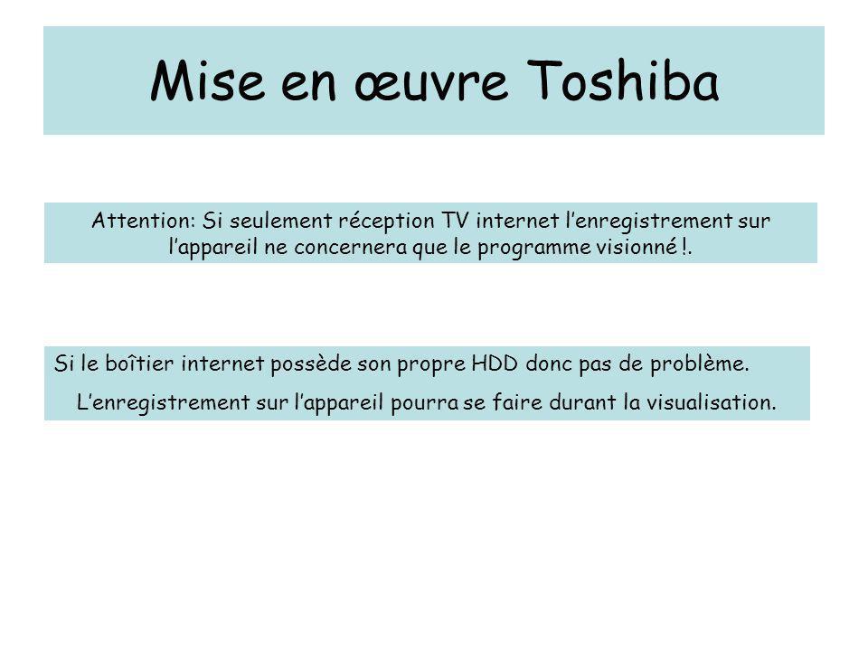 Mise en œuvre Toshiba Attention: Si seulement réception TV internet l'enregistrement sur l'appareil ne concernera que le programme visionné !.