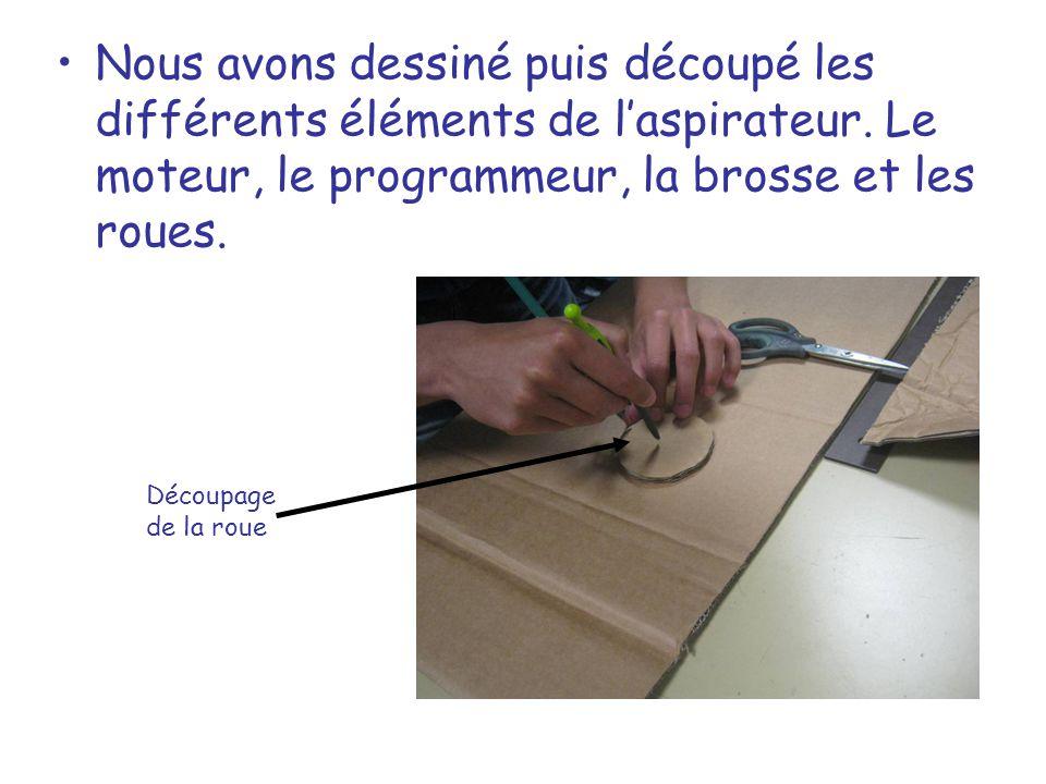 Nous avons dessiné puis découpé les différents éléments de l'aspirateur. Le moteur, le programmeur, la brosse et les roues.