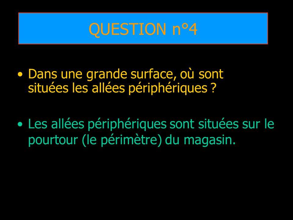 QUESTION n°4 Dans une grande surface, où sont situées les allées périphériques
