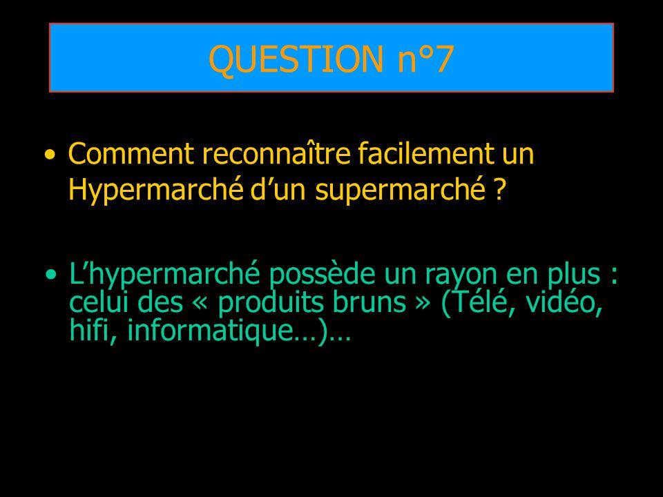 QUESTION n°7 Comment reconnaître facilement un Hypermarché d'un supermarché