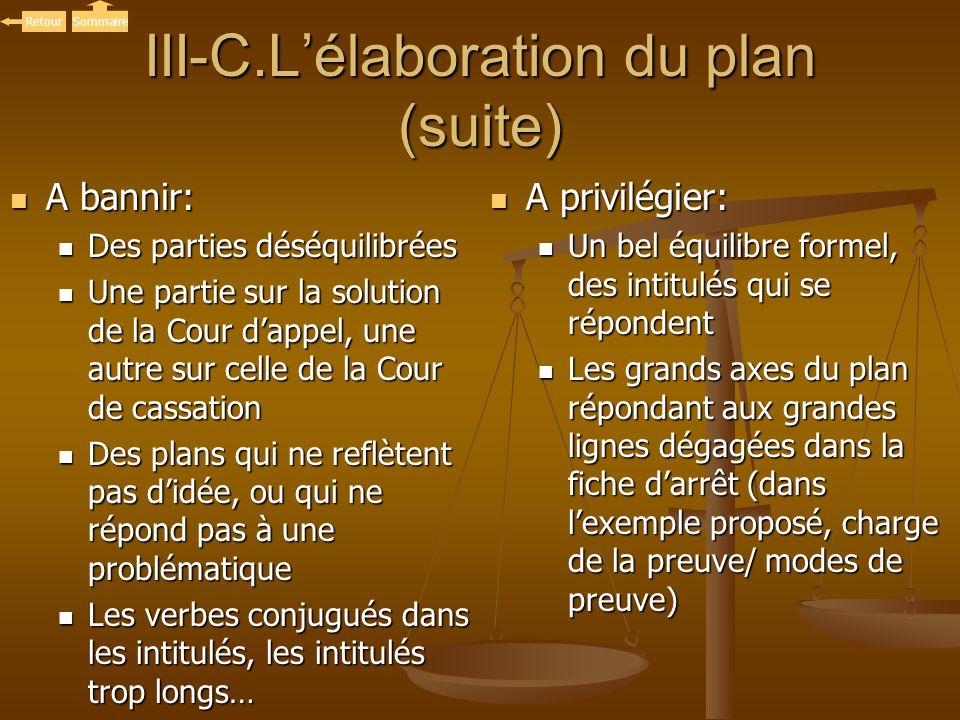 III-C.L'élaboration du plan (suite)