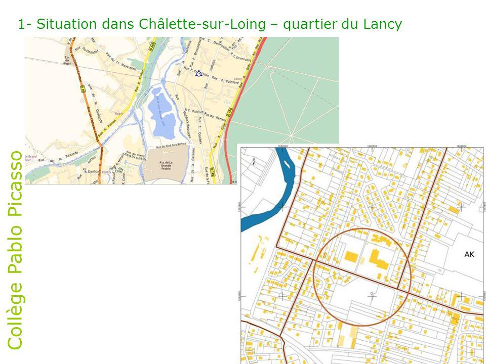 1- Situation dans Châlette-sur-Loing – quartier du Lancy