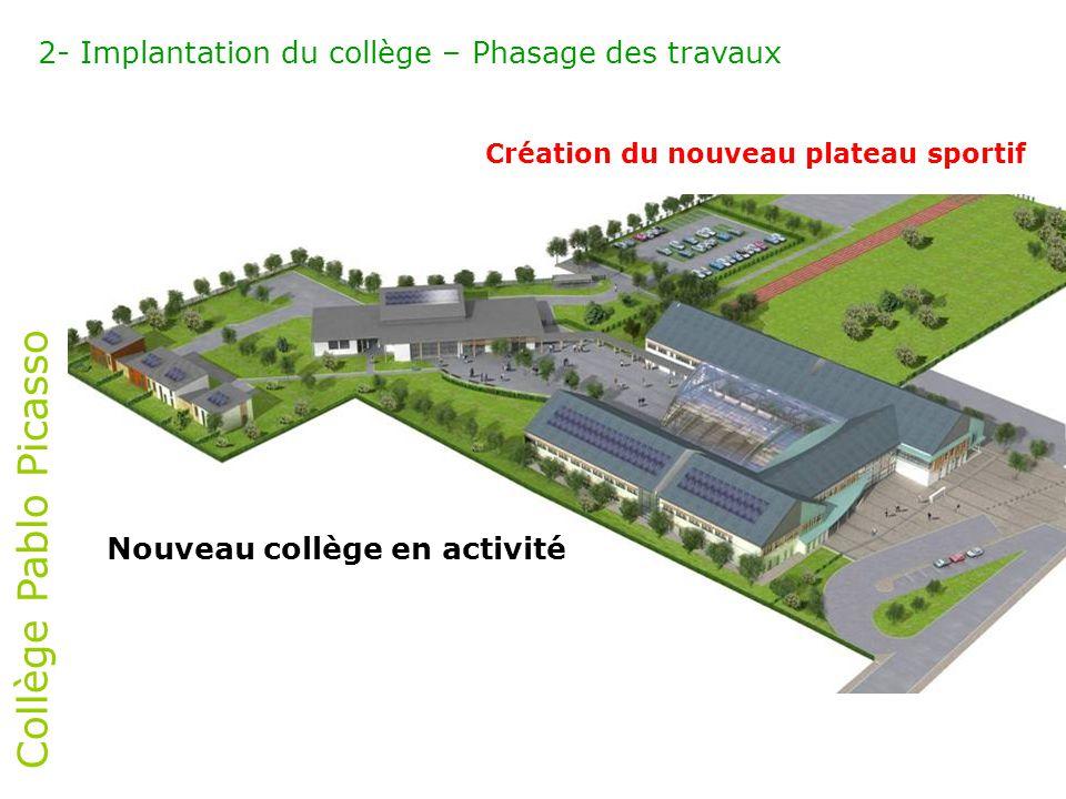 Collège Pablo Picasso 2- Implantation du collège – Phasage des travaux