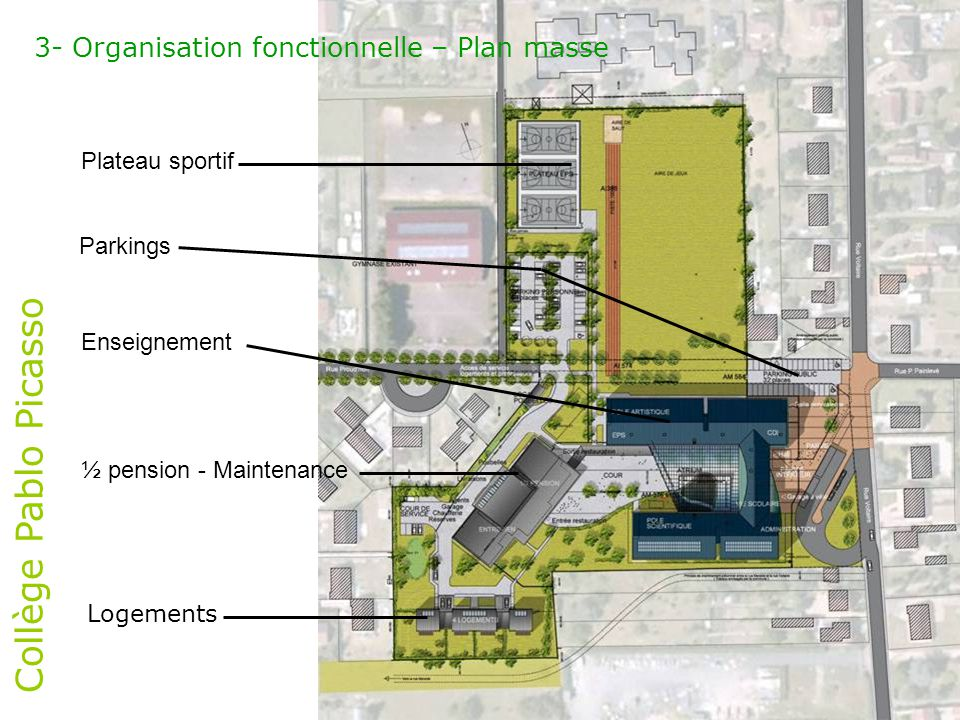 Collège Pablo Picasso 3- Organisation fonctionnelle – Plan masse