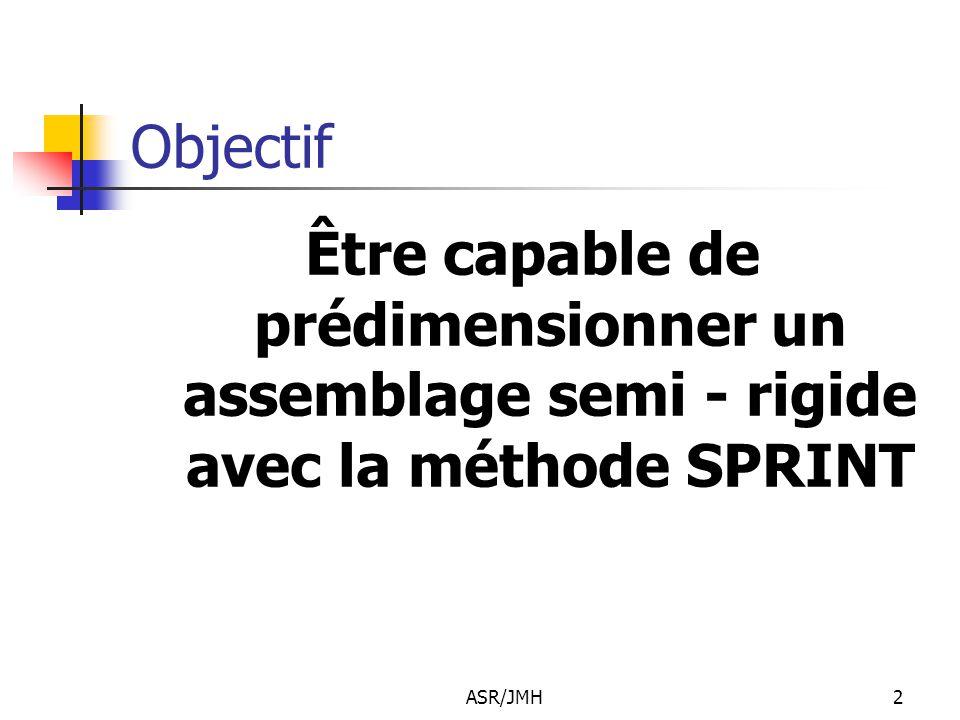 Objectif Être capable de prédimensionner un assemblage semi - rigide avec la méthode SPRINT ASR/JMH