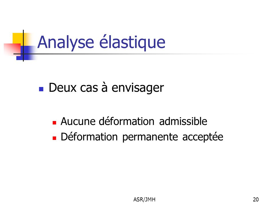 Analyse élastique Deux cas à envisager Aucune déformation admissible