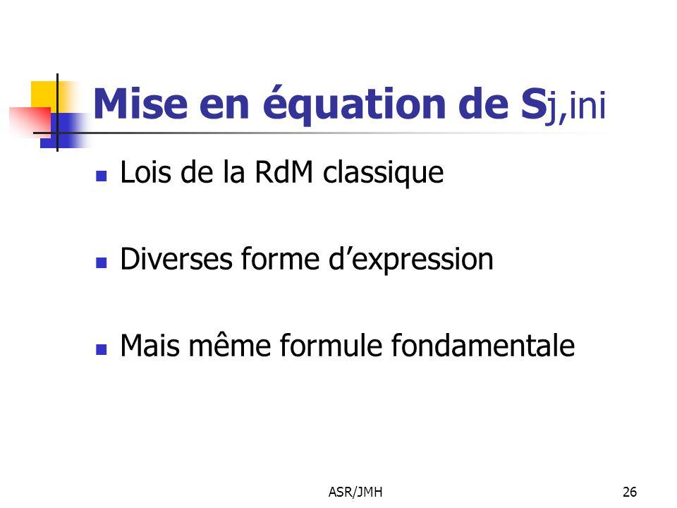 Mise en équation de Sj,ini
