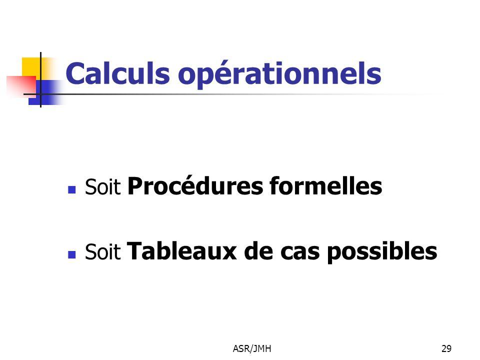 Calculs opérationnels