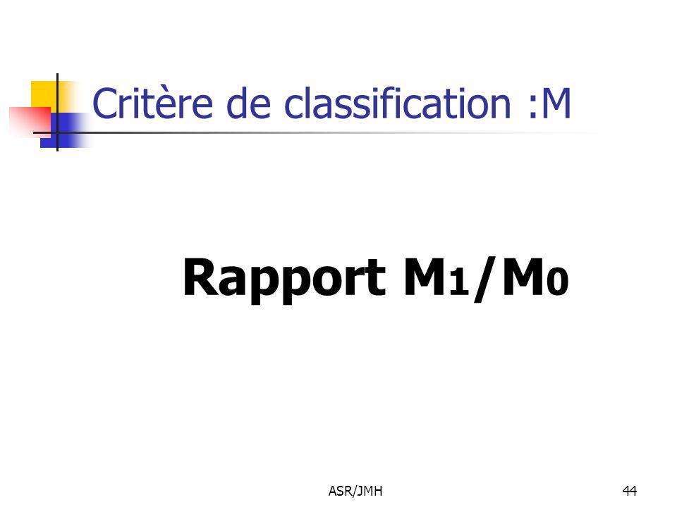 Critère de classification :M