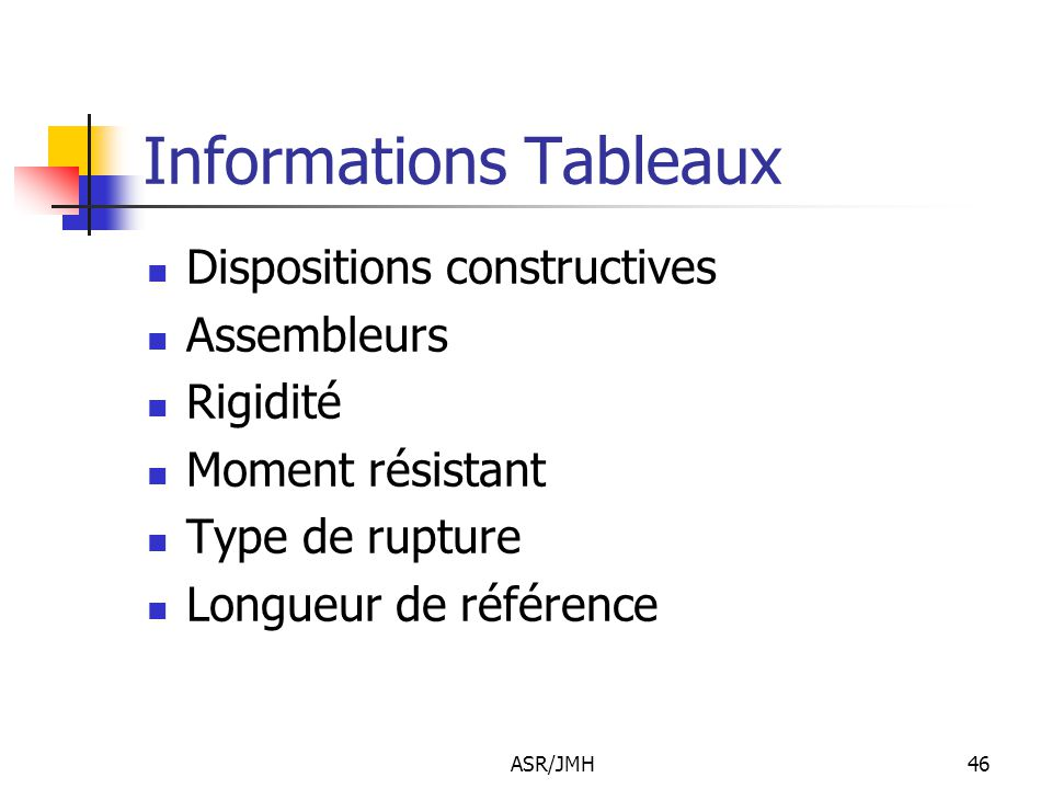 Informations Tableaux