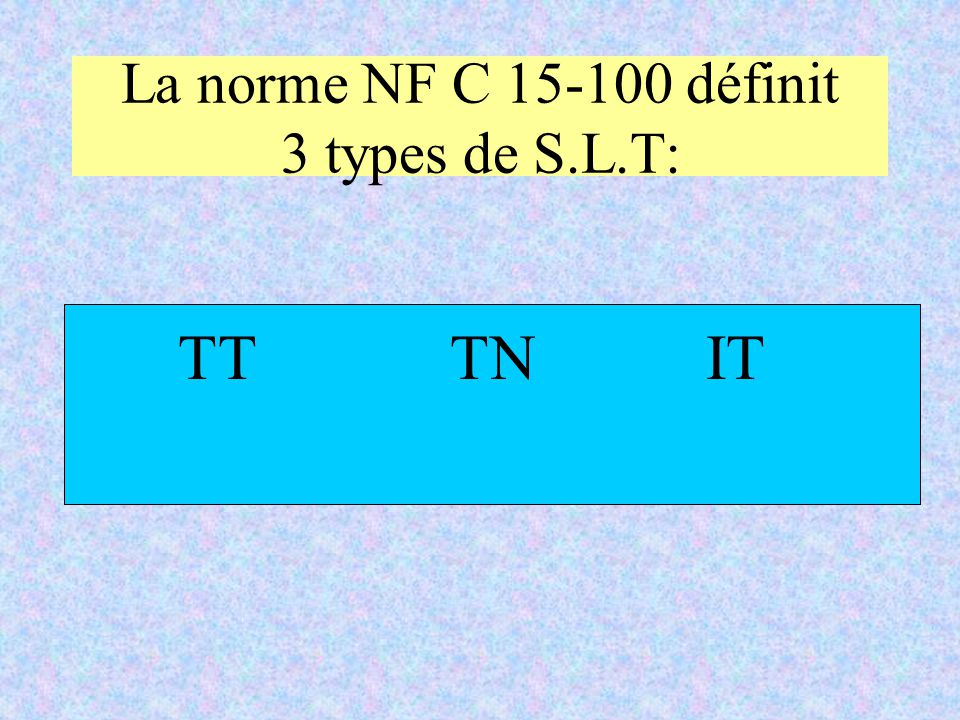 La norme NF C 15-100 définit 3 types de S.L.T: