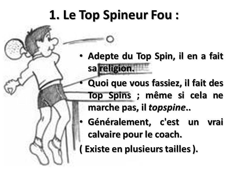 1. Le Top Spineur Fou : Adepte du Top Spin, il en a fait sa religion.