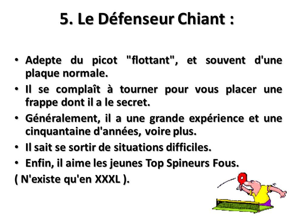 5. Le Défenseur Chiant : Adepte du picot flottant , et souvent d une plaque normale.