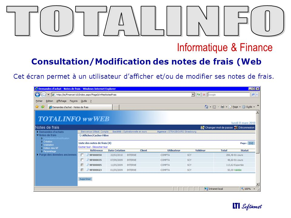 Consultation/Modification des notes de frais (Web