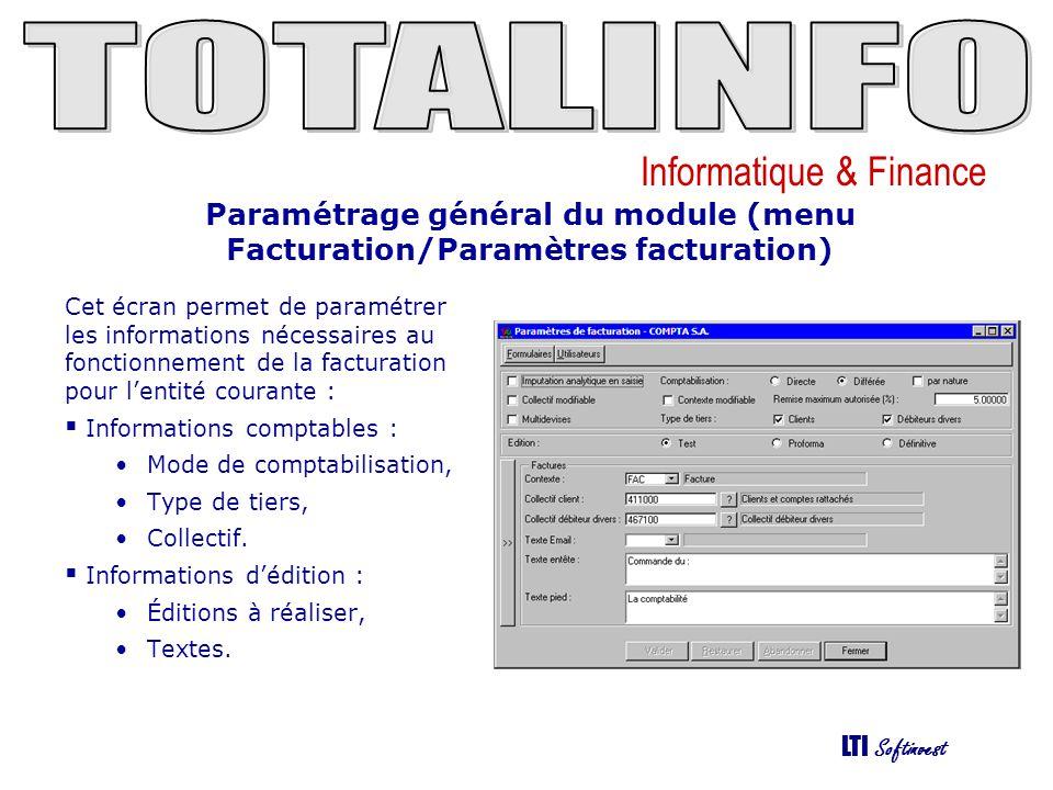 Paramétrage général du module (menu Facturation/Paramètres facturation)
