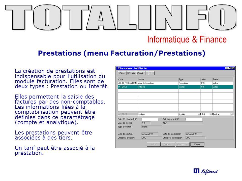Prestations (menu Facturation/Prestations)