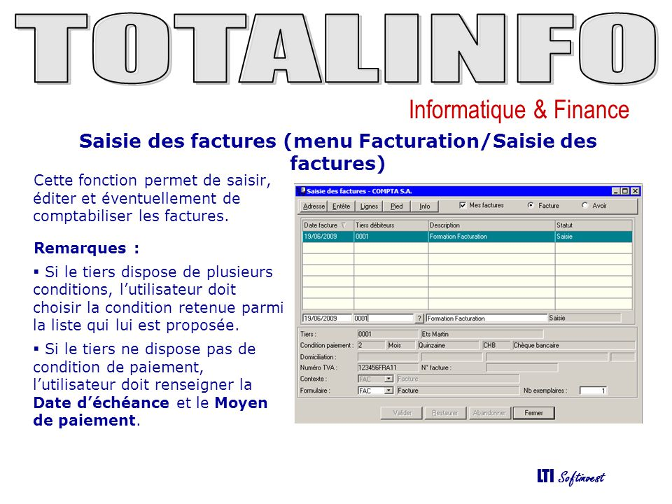 Saisie des factures (menu Facturation/Saisie des factures)