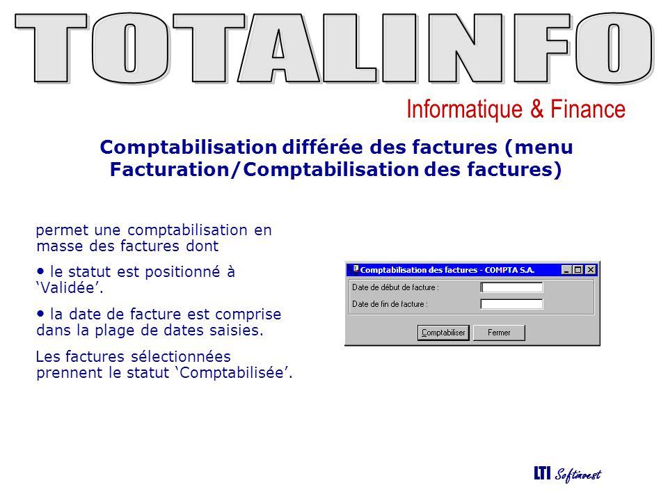 Comptabilisation différée des factures (menu Facturation/Comptabilisation des factures)