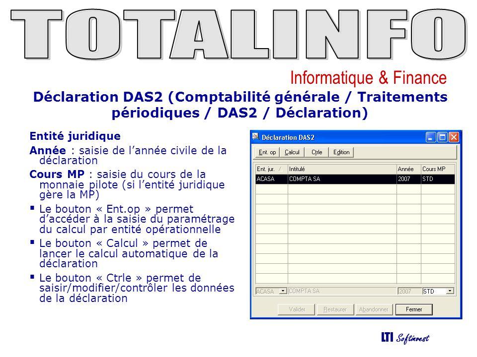 Déclaration DAS2 (Comptabilité générale / Traitements périodiques / DAS2 / Déclaration)