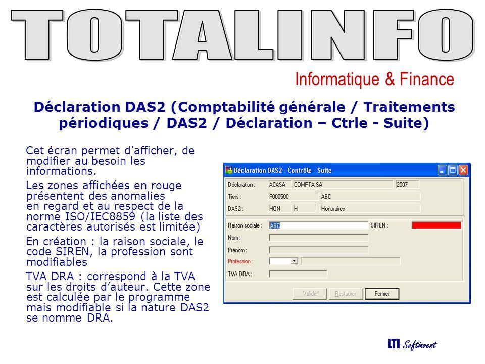 Déclaration DAS2 (Comptabilité générale / Traitements périodiques / DAS2 / Déclaration – Ctrle - Suite)