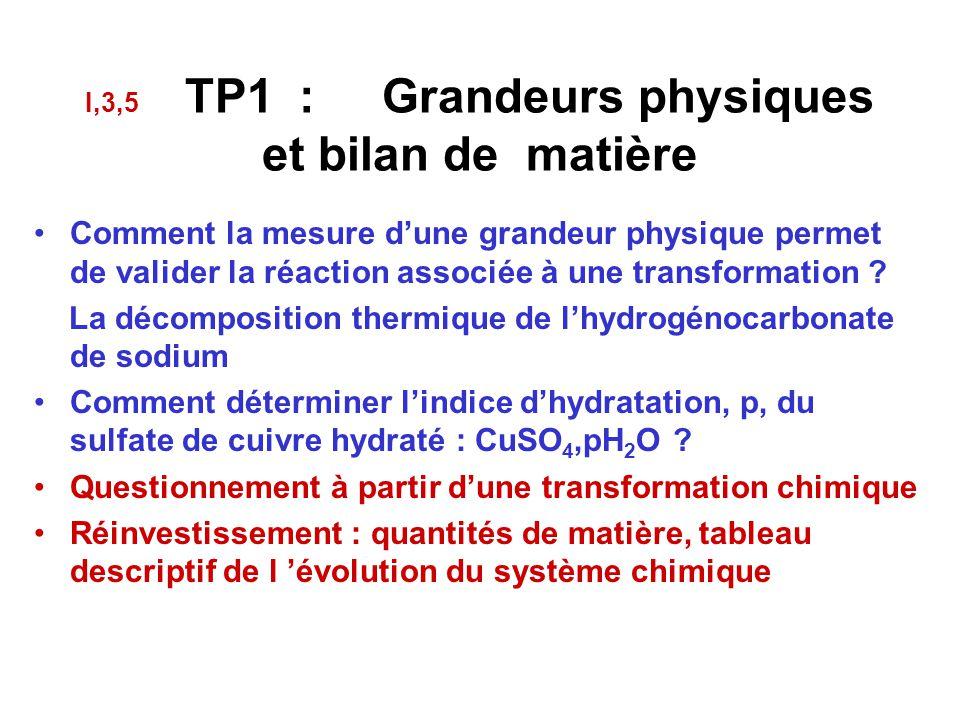 I,3,5 TP1 : Grandeurs physiques et bilan de matière