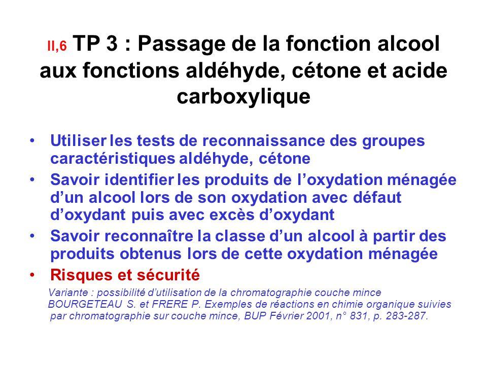 II,6 TP 3 : Passage de la fonction alcool aux fonctions aldéhyde, cétone et acide carboxylique
