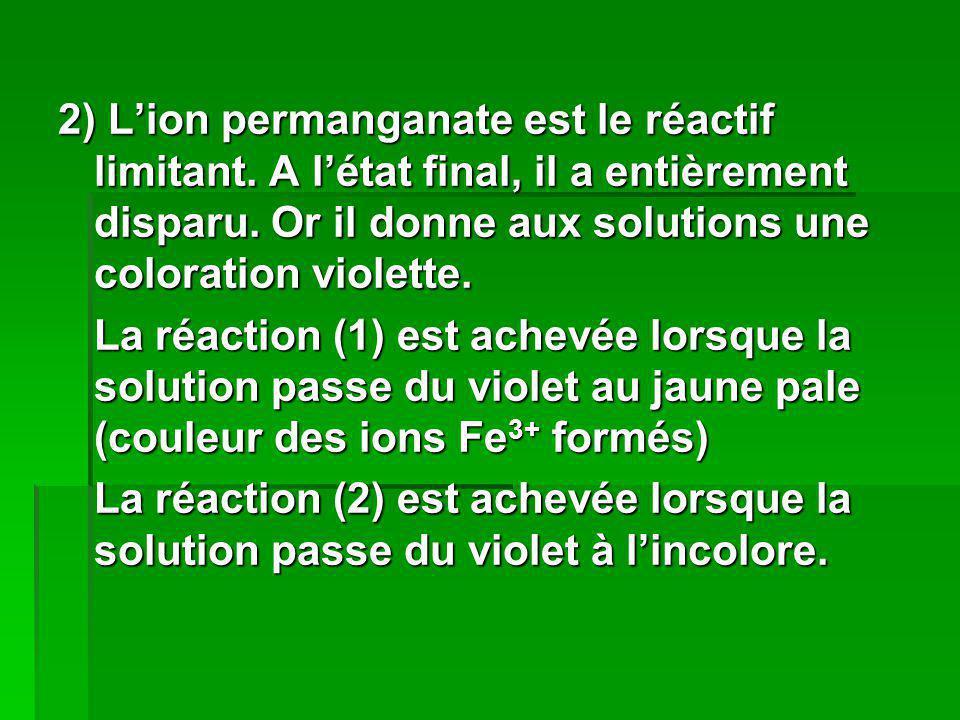 2) L'ion permanganate est le réactif limitant