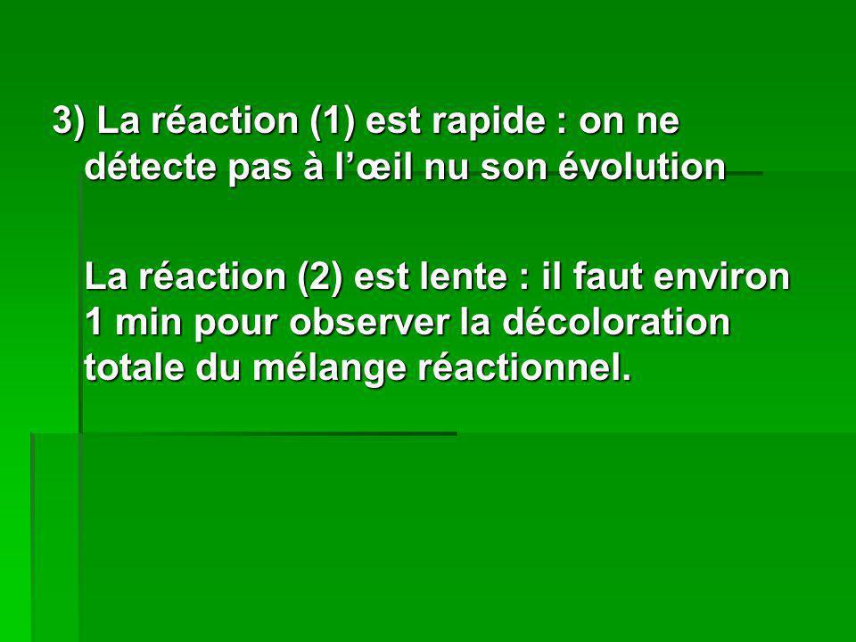 3) La réaction (1) est rapide : on ne détecte pas à l'œil nu son évolution