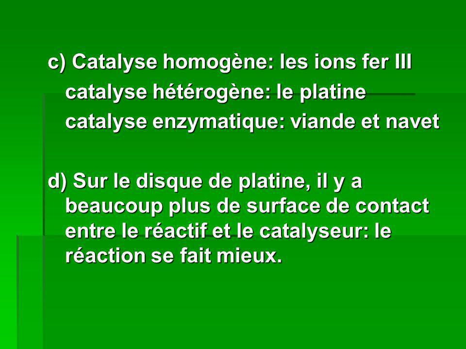 c) Catalyse homogène: les ions fer III