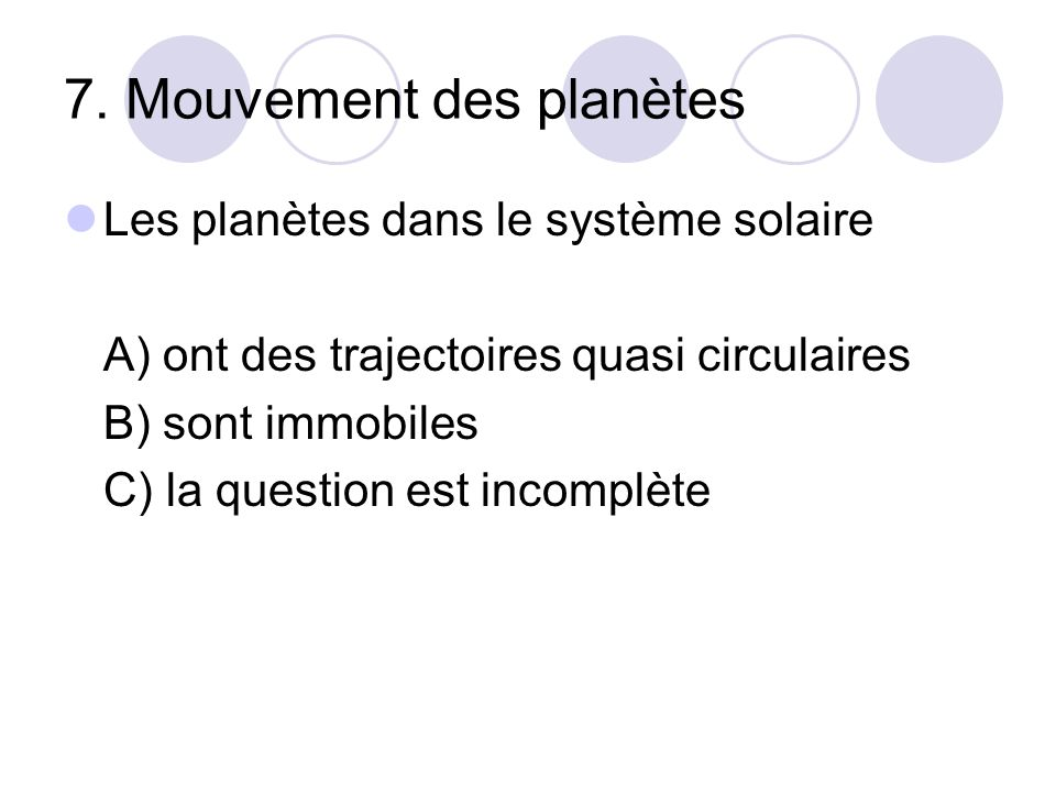 7. Mouvement des planètes