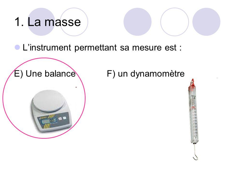 1. La masse L'instrument permettant sa mesure est :