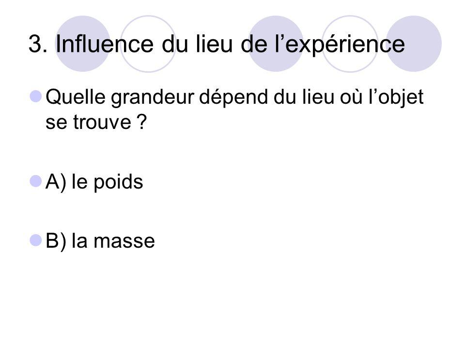 3. Influence du lieu de l'expérience