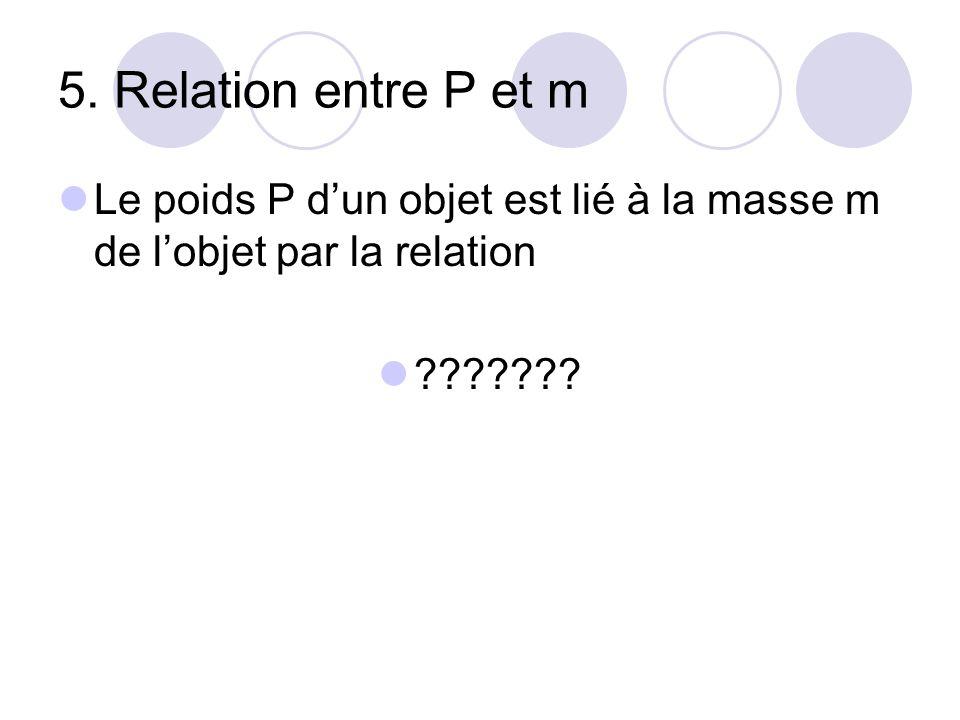 5. Relation entre P et m Le poids P d'un objet est lié à la masse m de l'objet par la relation.