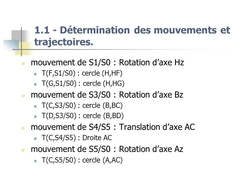 1.1 - Détermination des mouvements et trajectoires.