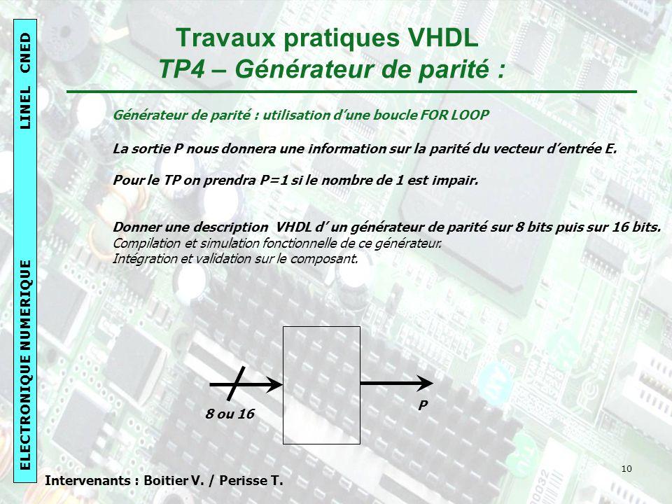 Travaux pratiques VHDL TP4 – Générateur de parité :