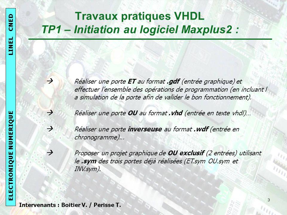 Travaux pratiques VHDL TP1 – Initiation au logiciel Maxplus2 :