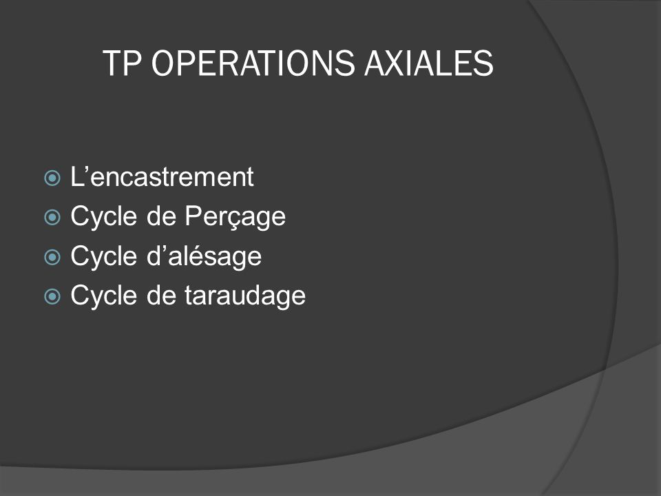 TP OPERATIONS AXIALES L'encastrement Cycle de Perçage Cycle d'alésage
