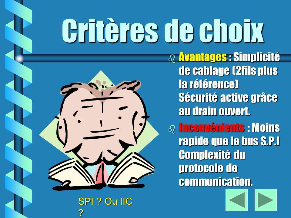 Critères de choix Avantages : Simplicité de cablage (2fils plus la référence) Sécurité active grâce au drain ouvert.