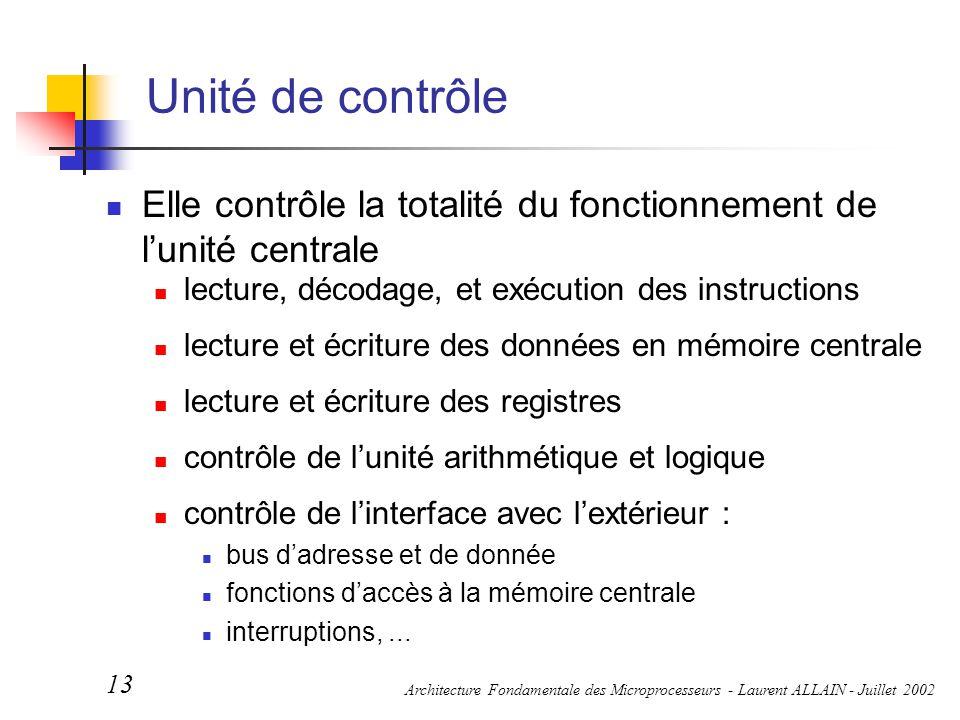 Unité de contrôle Elle contrôle la totalité du fonctionnement de l'unité centrale. lecture, décodage, et exécution des instructions.