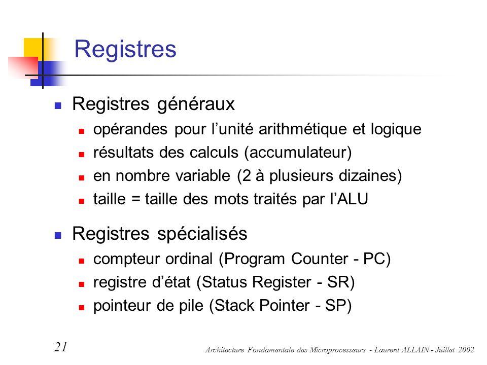 Registres Registres généraux Registres spécialisés