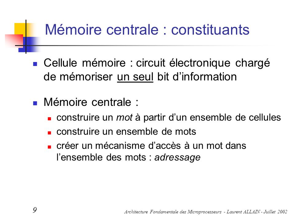 Mémoire centrale : constituants