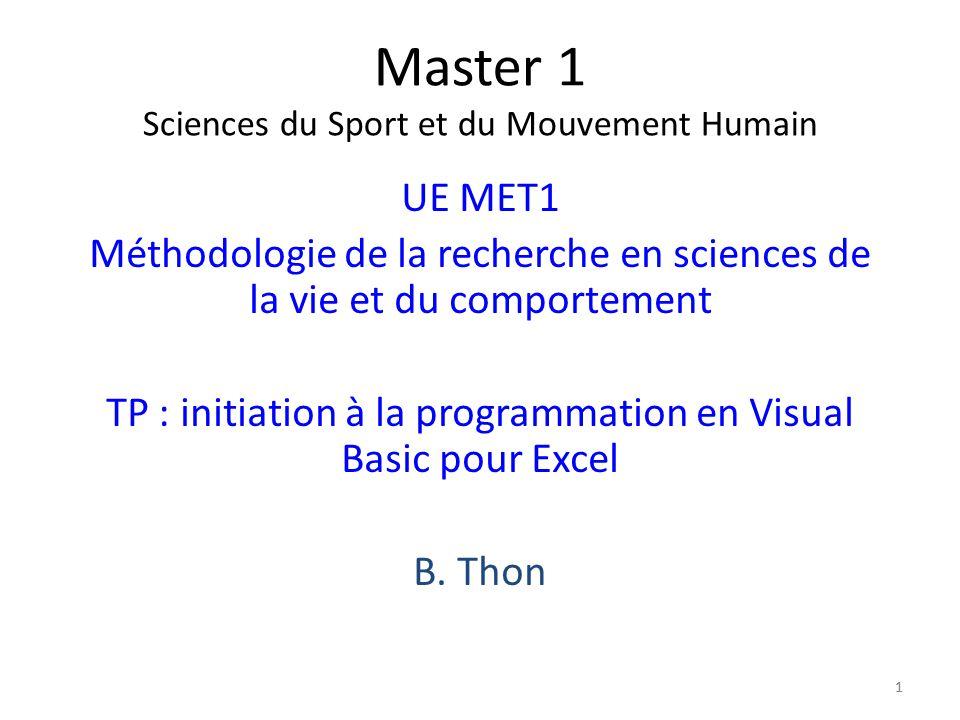 Master 1 Sciences du Sport et du Mouvement Humain
