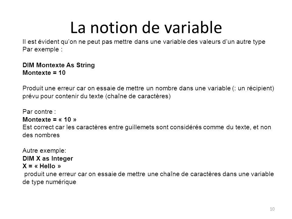 La notion de variable Il est évident qu'on ne peut pas mettre dans une variable des valeurs d'un autre type.