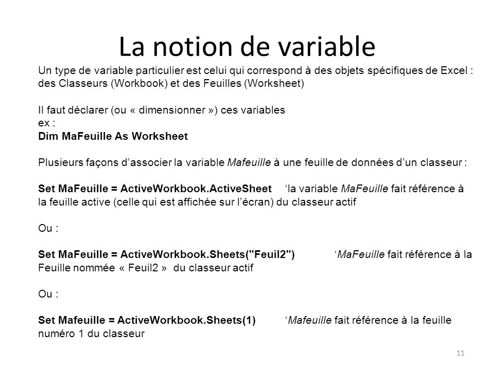 La notion de variable