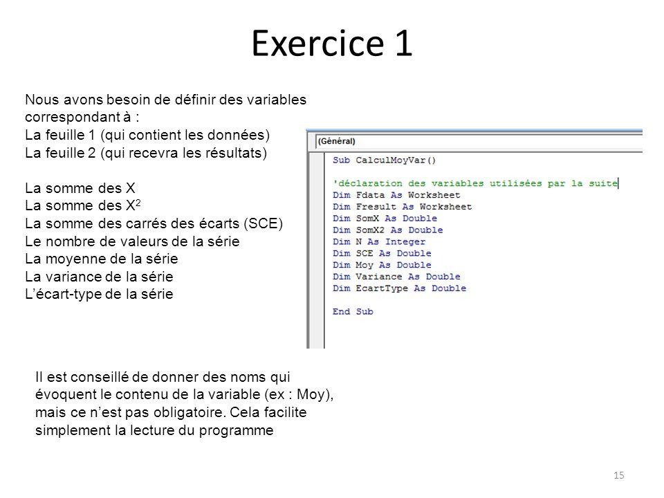 Exercice 1 Nous avons besoin de définir des variables correspondant à : La feuille 1 (qui contient les données)