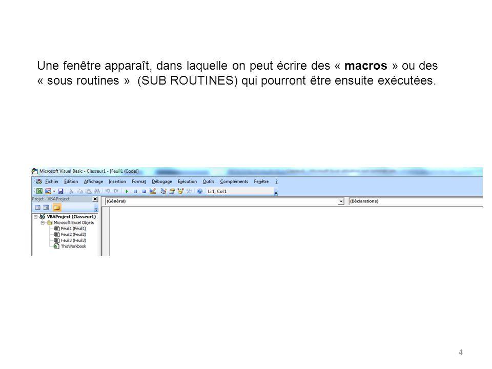 Une fenêtre apparaît, dans laquelle on peut écrire des « macros » ou des « sous routines » (SUB ROUTINES) qui pourront être ensuite exécutées.