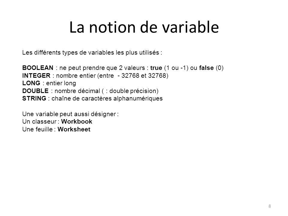 La notion de variable Les différents types de variables les plus utilisés : BOOLEAN : ne peut prendre que 2 valeurs : true (1 ou -1) ou false (0)