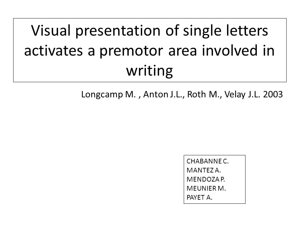 Visual presentation of single letters activates a premotor area involved in writing
